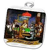3dRose Sandy Mertens Dog Designs - A Friend in Need Poker Dogs Vintage Painting Image, 3drsmm - 8x8 Potholder (PHL_295171_1)