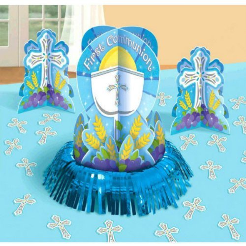 First Communion Blue Table Decorating Kit with 1 Large Centerpiece, 2 Small Centerpieces and 20 Cross Confetti Pieces by Amscan