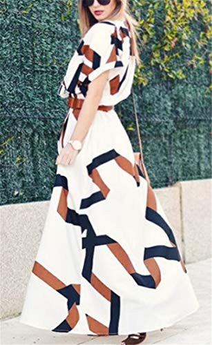 Short Neck Sleeve Print Classic Dress V Split Domple High 1 Maxi Womens fR6Oq4Rw