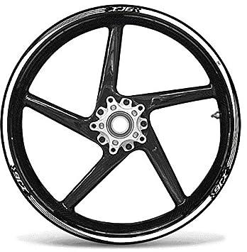 Tiras Adhesivo Compatible para Moto Yamaha Xj6 Adhesivos Ruedas 17 Tuning Blanca