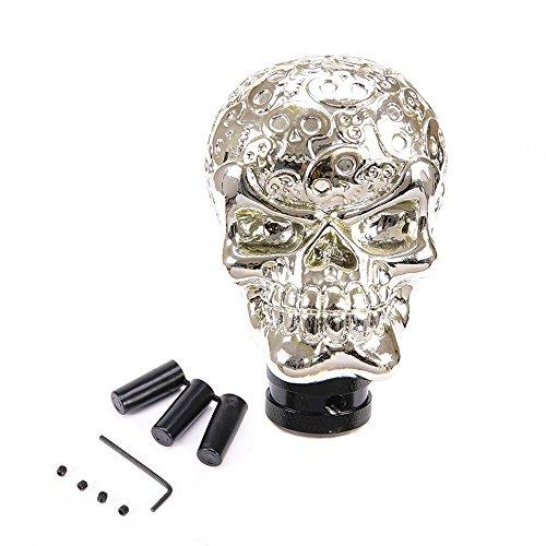 Skull Shift Gear Knob (MOTORFANSCLUB Car Auto Silver Skull Head Universal Gear Shift Knob Manual Stick Shifter)