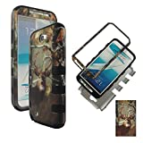 Hybrid 3 in 1 Bk Camo Deer Pine Samsung Galaxy Note 2, II N7100, T889 High Impact Shock Defender Plastic Outside with Soft Silicone Inside Drop Defender Snap-on Cover Case