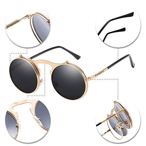Chaîne up Style Round Femmes Punk Flip Retro Lens Soleil Hommes 1 Sunglasses Metal A de XFentech Unisex Style Lunettes avec tq7axO