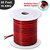 50ft 18 AWG Gauge Electrical Wire, DC 12V Hookup Red Black Copper Stranded Auto 2 Cord, Flexible Extension Cable with Spool for LED Ribbon Lamp Light or Low Voltage Products by MILAPEAK