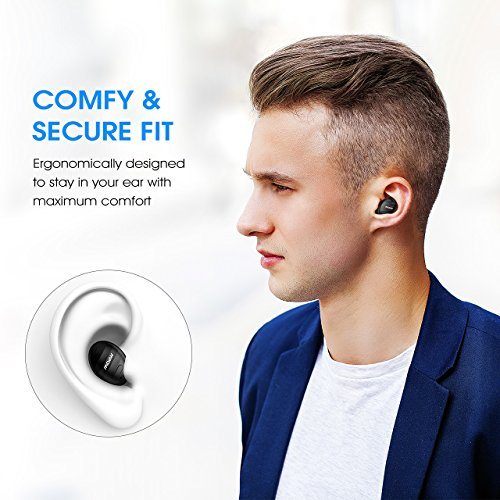 Mpow EM6 Single Mini Bluetooth Earbud, V4.1 Wireless Earbud with Mic, Invisible Headphone with 6 Hour Playtime, Car Bluetooth Headset for iPhone Android Smart Phones (Two Chargers)