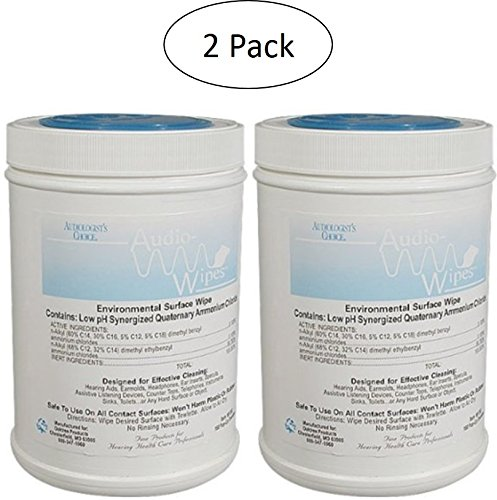 2 Pack Bonus Bundle! Audiowipes Disinfectant Towelettes - Large Canister (160 Wipes Per Canister)