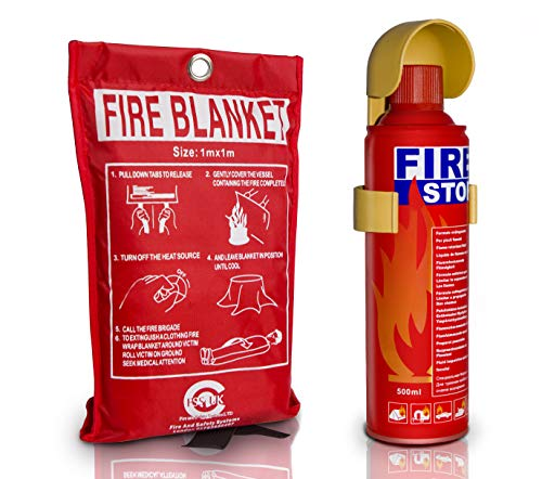 Introductory Offer on 500 ml Fire Extinguisher + 1m x 1m Fire Blanket. Ideal for Home Kitchen Taxi Caravans Boats Restaurants Workshops and Offices.