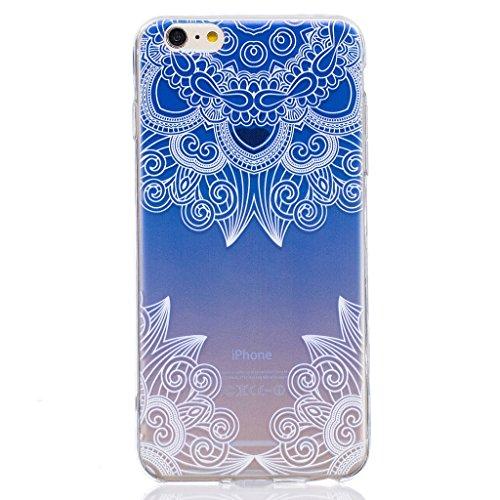 "Hülle iPhone 6 Plus / 6S Plus, IJIA Ultra Dünnen Gradient Blau Violett Blumen TPU Weich Silikon Handyhülle Schutzhülle Handyhüllen Schale Cover Case Tasche für Apple iPhone 6 Plus / 6S Plus 5.5"" + 24K"