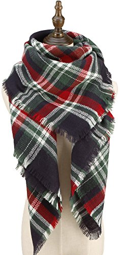 CHERRY CAT Womens Checked Plaid Scarf Oversized Blanket Knitted Wrap Shawls (Navy Mixed)