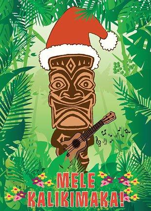 hawaiian christmas tiki santa cards - Santa Cards