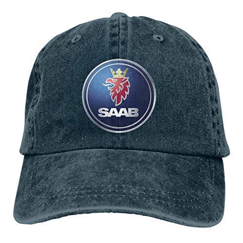 Mens Vintage Adjustable Cap Customized General Motors Saab Logo Funny Sports Cap, Navy