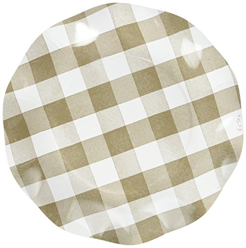 Sophistiplate Taupe Beige Gingham Paper Salad/Dessert Plates - 30pk for Holidays, Parties, Showers, & Special Entertaining! Made in (Gingham Plates)