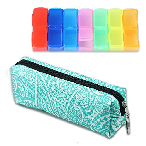 LIZIMANDU Weekly Pill Organizer, Twice-a-Day, AM/PM Push Button Pill Planner (XL) Includes Pill Box Storage bag(Spiral) by lizimandu