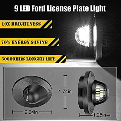 License Plate Light for F150, Full 9 LED Rear Number Plate Lamp Assembly For Ford F150 F250 F350 F450 F550 Ranger Pickup Truck Explorer Bronco Excursion, Error Free 3W 6000K Diamond White, 2-Pieces: Automotive