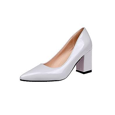 156453a0110 MObast Chaussure Femme Escarpin Escarpins Pas Cher Chaussure en Cuir Talon  Carré 7.5Cm Glisser sur