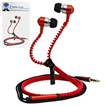 Red Premium 3.5mm Aluminium ZIPPER In Ear Stereo Wired Headset Hands Free Headphones with Built in Mic Microphone and On Off Button For Samsung GC100 Galaxy Camera