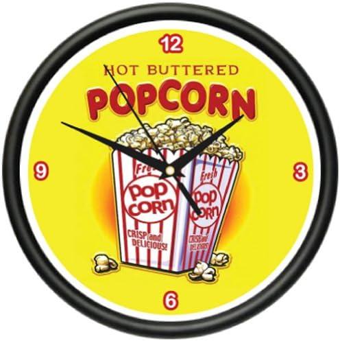 Popcorn Wall Clock Movie Theater Home Decor Machine