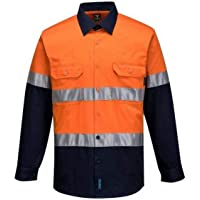 Prime Mover mens Button Up, Orange/Navy, 2X-Small
