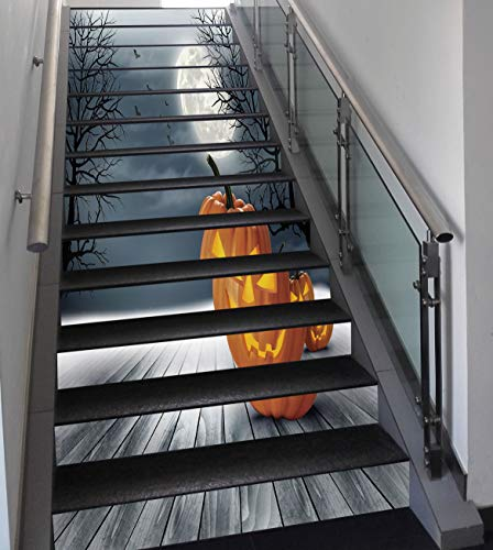 Stair Stickers Wall Stickers,13 PCS Self-Adhesive,Halloween,Cold Foggy Night Dramatic Full Moon Pumpkins on Wood Board Trees Print,Grey Orange Black,Stair Riser Decal for Living Room, Hall, Kids Room -