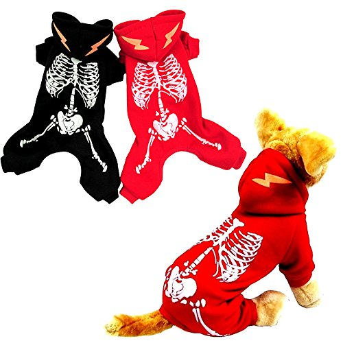 (Glumes Halloween Costumes Pets Dogs Cats,Halloween Party Glow Skeleton Skull Ghost Puppy Animal Cosplay Apparel Clothes Christmas Pets Dress up Hoodie Coat for Small Medium Dogs/Kitten)