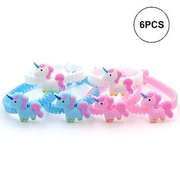 Beito 6pcs/Set Unicornio Pulsera de Silicona Unicornio Fiesta de cumpleaños favores Pulseras Kids Rainbow Pulseras Surtido Kit Suministros de premios ...
