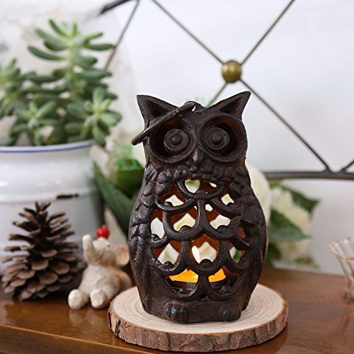 Home-organizer Tech Retro Home Decoration Owl Shaped Candle Holder Table Dinner Black Iron Candlestick for DIY Wedding Birthday Gift Party Lantern Lamp Garden Porch