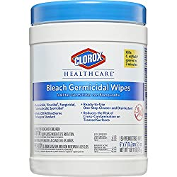 Clorox Healthcare Bleach Germicidal Wipes, 150 Count Canister, 6 Canisters/Case (For Healthcare Use)