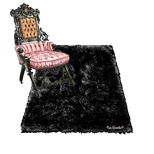 Shag Carpet - Extraordinary Faux Fur Rug - Accent - Area Rug - Throw Rug and Design - Hand Made in The USA (4'x5', Black)