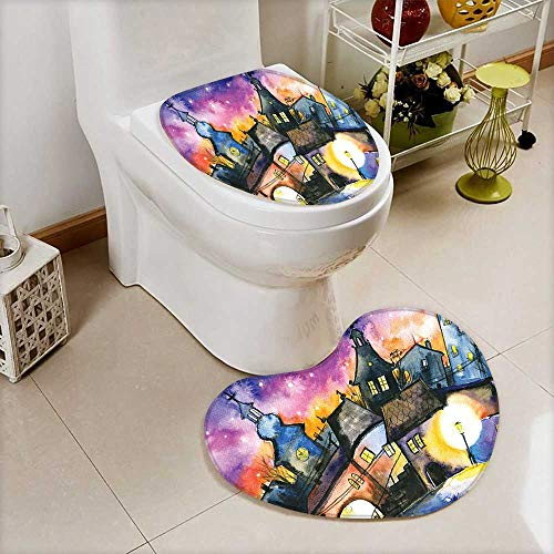 2 Piece Large Contour Toilet mat Funky Watercolors Paint Small Town Weird Angles at Night Light Reflections Mist High Density Space Memory Cotton ()