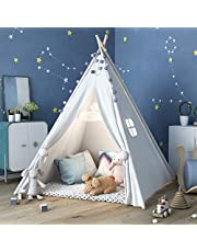 Kids Teepee Tent with Floor Sheet + Feathers + Flag, Teepee Tent for Kids Toys for Boys and Girls Portable Children Playhouse Kids Play Tent for Indoor & Outdoor Use