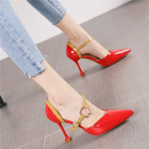 HRCxue Pumps Mode hohl sexy Spitze Stiletto high Heel Frauen Wort Schnalle mit Einem einzigen Schuh, 36, großes rot