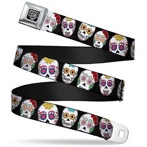 Buckle-Down Unisex-Adult's Seatbelt Belt Sugar Skulls XL, Outline