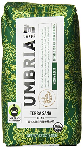 Caffe Umbria Fresh Seattle Whole Bean Roasted Coffee, Terra Sana Organic Blend Medium Roast, 12 oz. Bag