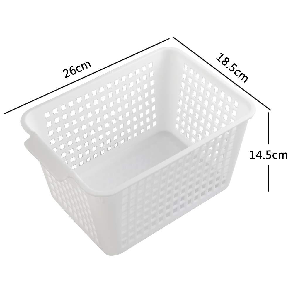 Fosly Paniers de Rangement Rectangulaires Paniers en Plastique de Bureau 6-Paquet