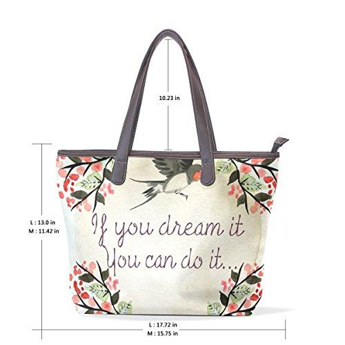 Coosun Womens Zitat Traum Pu Leder große Einkaufstasche Griff Schultertasche