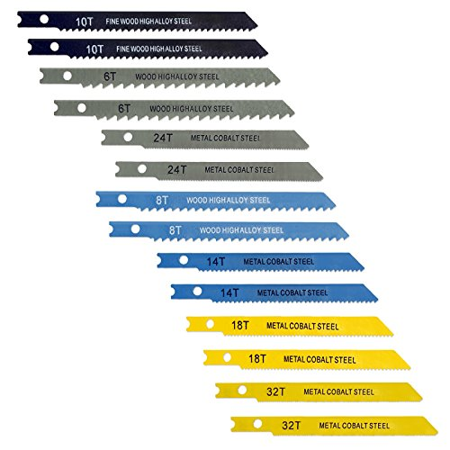 14pc Universal Jig Blade Assortment High-Alloy and Cobalt Steel - For Cutting Metal Wood PVC and More