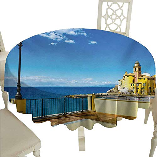 (duommhome Italian Durable Tablecloth Camogli Building Sea Lamp and Balcony Tourist Spot in Ligury Italy Print Easy Care D67 Blue White and Yellow)