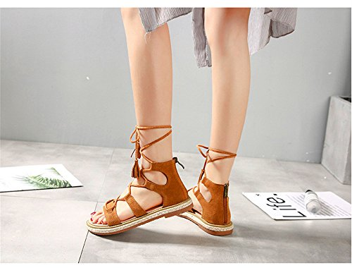 ShangYi Summer Roman leather flat shoes straw rope strap women's open-toe fringe with sandals Brown 2g9R03