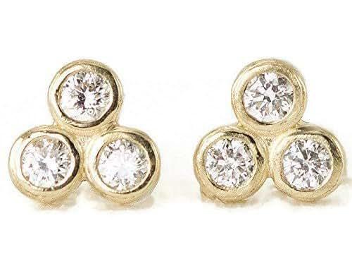Amazon.com: Diamond Trio Gold Studs - Bezel Set Gemstone Post ...