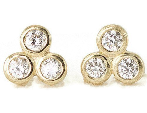 Diamond Trio Cluster Gold Studs - Bezel Set Moissanite or White Sapphire Post Earrings - 14k or 18k Choice