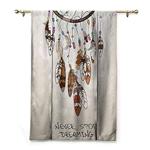 - DONEECKL Light Luxury Upscale Roman Curtains Native American Southwest Decor Never Stop Dreaming Feathers and Colorful Beads for Good Luck Durable W48 xL72 Polyester