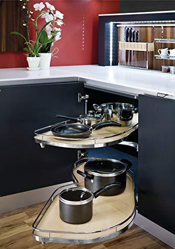 Hafele Lemans II Set, for Blind Corner Cabinets, 2-45'er Shape Trays, Chrome/Maple (Swings Right, 723 ()
