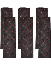 NA 6 stks veiligheidsgordelhoezen comfortabele autogordelhoes schouderkussens Comfort harnas Pads veiligheidsgordels schouderriem beschermer schouder voor kinderen en volwassenen (zwart rood