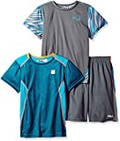 Fila Little Boys' 3 Piece Athletic Set, Teal/Fiery Coral, 7