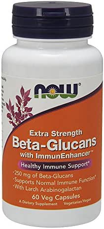 NOW Supplements, Beta-Glucans with ImmunEnhancer™ with Larch Arabinogalactan, Extra Strength, 60 Veg Capsules