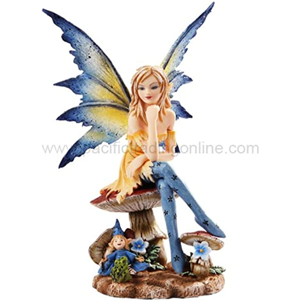 Pacific Giftware Ptc 6 Inch The Magician Fairy Sitting On Mushrooms Statue Figurine Home Kitchen Amazon Com