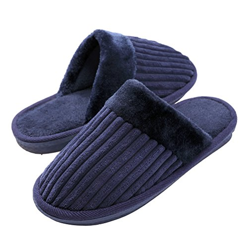 TRUEHAN Men House Indoor Slippers Winter Plush Soft Warm Lightweight Velvet Home Shoes (Tag Size 44 / UK9 10 D(M) US, Blue) by TRUEHAN