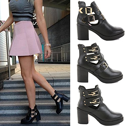 WOMENS LADIES CHELSEA CUT OUT MID HIGH HEEL BOOTIES HEELED BLOCK PLATFORM WINTER ANKLE BOOTS SIZE 3-8 Style D - Black kjLTw
