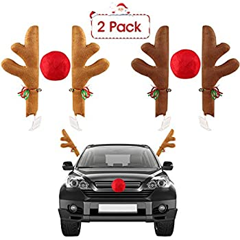 Glumes Christmas Reindeer Antler and Nose Vehicle Costume Rudolf Red Nose Elk Moose Holiday Xmas Decoration for Car Truck Red