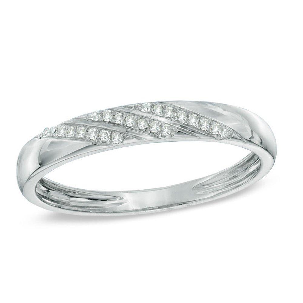 Silvercz Jewels 0.2 Ct Sim. CZ 14K White Gold Pl Ladie's Accent Slant Striped Wedding Band Ring